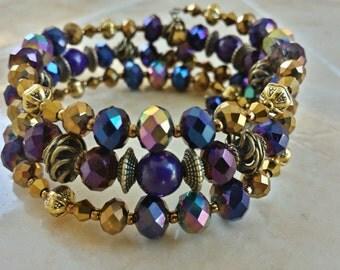 Shimmer Triple Wrap Bracelet, Gold Crystal Memory Wire bracelet, Crystal Bracelet, women's purple bracelets, Gifts for her, Purple Iridescen