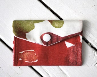 Red Floral Business Card Holder - Upcycled, repurposed