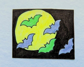 Pastel Goth Moonlight Bats sticker OOAK