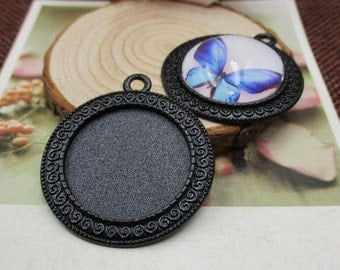 5pcs 25mm Round Cameo Cabochon Base Setting,1 inch (25mm) Round Black Blank Trays Findings,Pendants --b2078