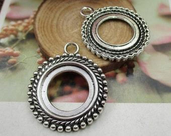 5pcs 20mm Round Cameo Cabochon Base Setting Pendants,Round Blank Bezel Findings,Antique Silver Tone-b2018-B