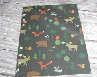 Dashboard for A5 Large Size Planner Woodland Forest Friends Bear Moose Fox Rabbit Trees