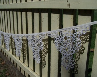 Cream and ecru bunting 6metres (20 feet), mantle or room decoration, eco friendly