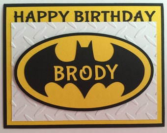 "Handmade ""Personalized"" Batman Birthday Card, A2, Super Hero, Batman"