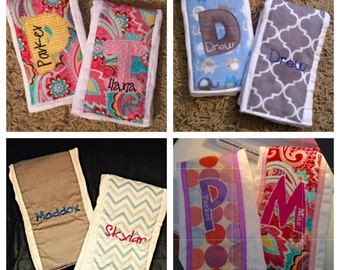 2  Burp Cloths Personalized-choose your fabric!