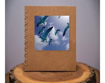 Sea Gulls - handmade blank kraft paper notebook