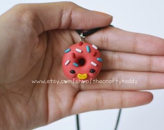 Strawberry Donut Pendant Necklace