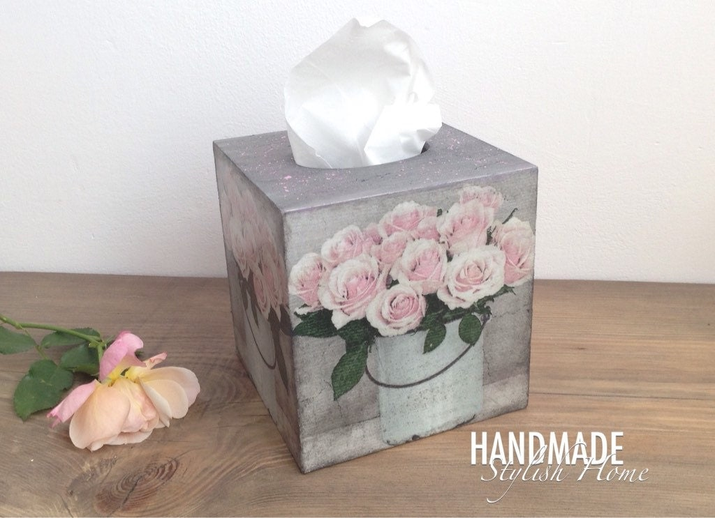 shabby chic tissue box cover kleenex box holder vintage. Black Bedroom Furniture Sets. Home Design Ideas