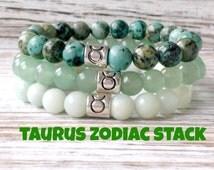 Taurus Bracelet Stack, Zodiac Jewelry, Astrology, African Turquoise + Green Aventurine + Amazonite, Healing Crystals, Taurus Birthday Gift!