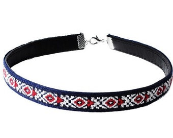 Reversible leather choker- Red White and blue