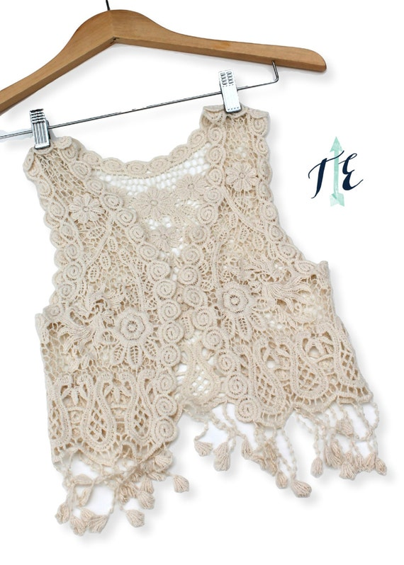Free Crochet Cotton Vest Pattern : FREE SHIPPING Child Crochet Vest / Boho Baby / Toddler