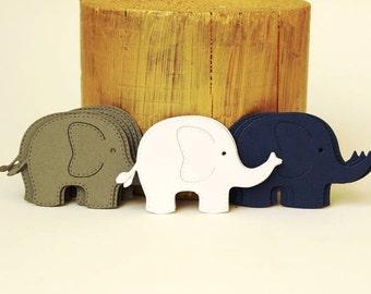 Baby Elephant Die Cuts Grey White Navy Blue,  Elephant Confetti, Baby Boy Shower Decoration,Paper Elephant Cut Outs,Big Elephant Die Cuts