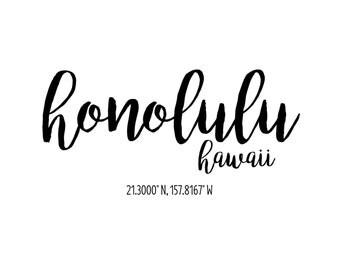 Honolulu Hawaii Coordinates Printable