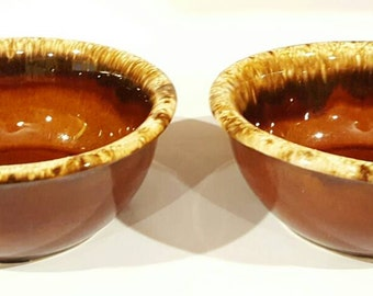 Hull Brown Drip Glaze Oven Proof Soup Cereal Bowls