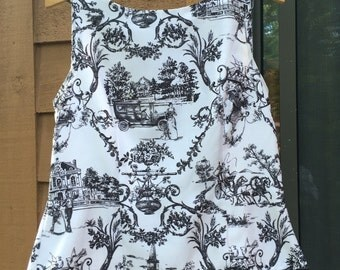Toile tank top with beaded fringe -- fits s/m -- 6P