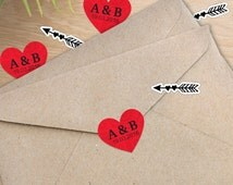 24x Wedding Custom Initials Die Cut Sticker, Patterned Hearts,  Personalised Envelope Sticker With Date, Invitation Kit #047ST