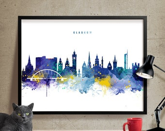 Glasgow Skyline, Glasgow Scotland Cityscape Art Print, Watercolor Painting, Wall Art Poster, Cityscape, City Wall art, Artwork, Poster (338)
