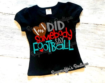 Girls Football shirt, little football fan shirt, football shirt, football season shirt, girls football season shirt, kids game day shirt