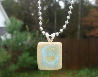 Green Ceramic Pendant Necklace Glazed Glass