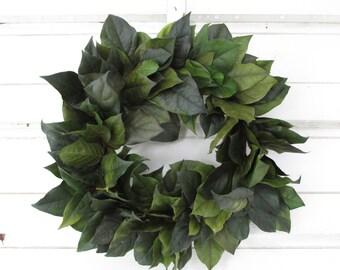 "Preserved Salal (Lemon Leaf) Wreath 13"" Dark Basil Green Handcrafted for Home Decor, Wedding, Craft, Centerpiece, Candle Ring, Woodland, DIY"