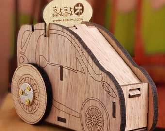 Go Go Music Car, wind-up wooden music box, interlocking, DIY music box, gift for kids