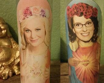 Saint Amy Poehler and Tina Fey Candle Set - Tina & Amy Prayer Candle Set