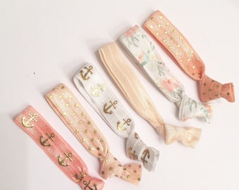 Peach & anchor hair tie set//elastic hair ties//hair tie bracelet//hair band