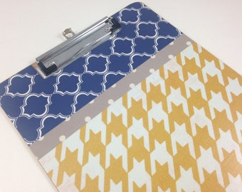 Houndstooth Clipboard, Navy and Yellow Clipboard, Decoupage, Teacher Gift, Student Gift, Cute Organization, Back to School