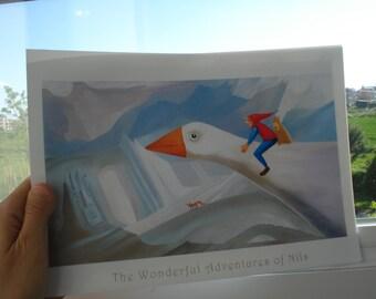 cute illustration print a4 size Wallart cartoon print, children illustration print on photo paper The Wonderful Adventures of Nils