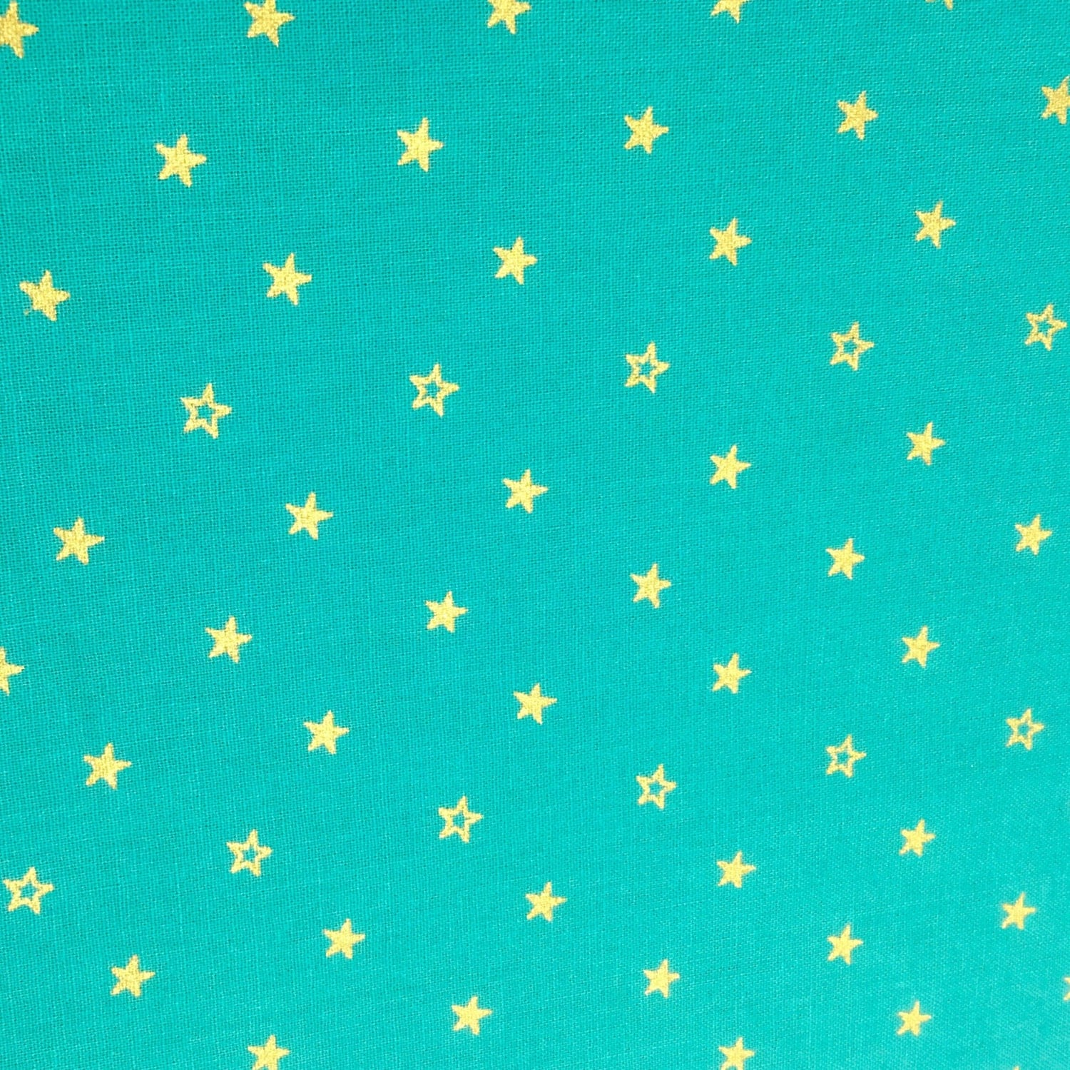 Teal and gold star fabric mg14 aqua blue metallic gold for Star fabric australia