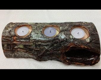 Decorative rustic Wood Candle Holder natural candle holder tealight candle