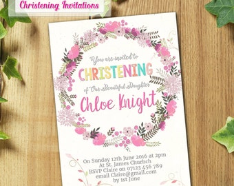 PRINTED & DELIVERED   12x Christening Invitations   For Boy or Girl   Any Age   Any Message   Birth Announcement   Baptism   Floral
