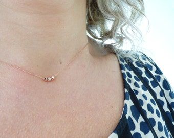 Delicate Rose Gold Necklace, Tiny Dainty Minimal Choker, Ultra Thin Necklace, Modern Everyday Necklace, 3 Rose Gold Faceted Nugget  Beads