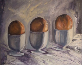 Oil still life with eggs