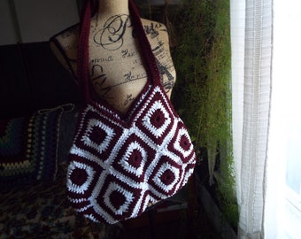 Granny Square Crochet Hand Bag