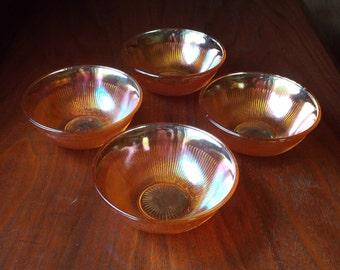 Carnival Glass; Vintage Glass Dessert Dishes; Orange Carnival Glass Dessert Bowls