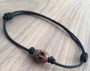 Tibetan Style Wood Half Skull Jawless Prayer Bead Adjustable Sliding Knot Bracelet on Black Nylon Cord