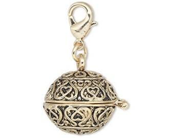 Prayer Box, Wish Box, Locket, Antiqued gold, 18mm, sold individually, D736