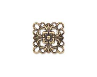 Filigree Link, Square DOMED Link, Antiqued Gold Link, 14x14mm, 10 each, D753