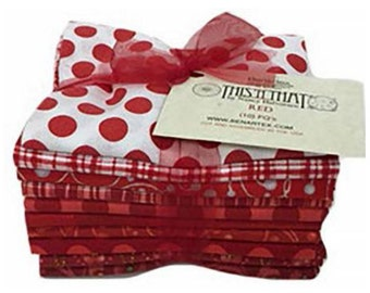 Red Fabric Fat Quarter Bundle - Red This N That 10 Piece Fabric Bundle by Nancy Halvorsen for Benartex Fabrics