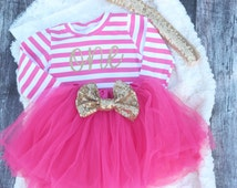 Pink First Birthday Outfit, Girls Birthday Dress, Baby tutu, 1st birthday outfit, toddler birthday