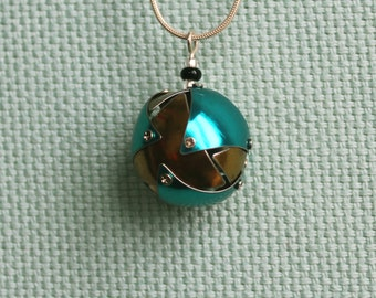 Gold and Blue Tin Orb Necklace