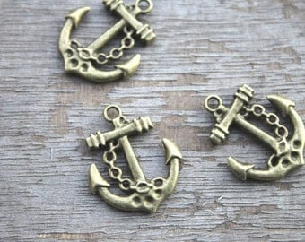 25pcs--Anchor charms, Antique bronze Anchor charm Pendants 18x25mm D0890