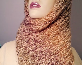 Crochet scarf, neck warmer, winter wool and acrylic blend scarf