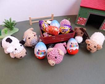 Farmyard Easter Egg Cosies for kinder and creme eggs **Crochet pattern only**
