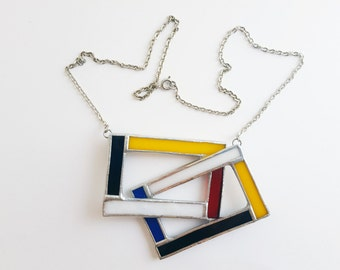 Stained glass pendant-Mondrian-blue-white-red-black-yellow-modern-hipster-geometrical