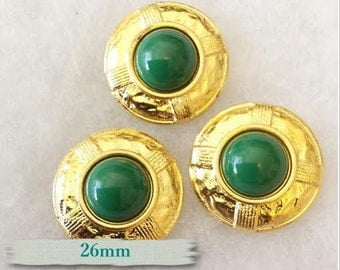 BM44, Buttons (3),  Green, 26mm, FREE Shipping with another purchase.
