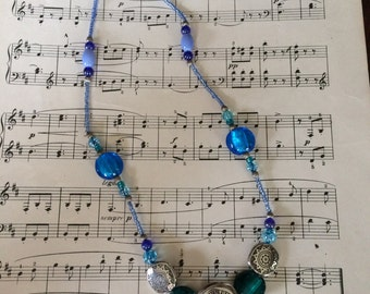 Blues & Greens beaded necklace