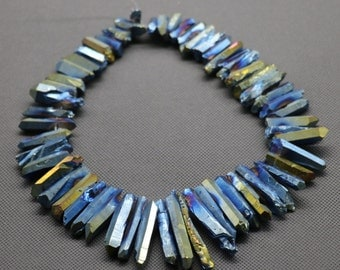 Mystic Titanium Blue AB Colors, Quartz Crystal Point Pendant Beads for Necklace,  3-5*18-40mm each