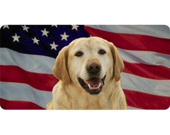 Yellow Lab On American Flag Photo License Plate - LPO952